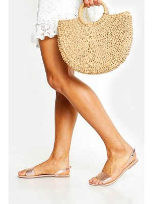 Boohoo Leather Woven Slingback Sandals