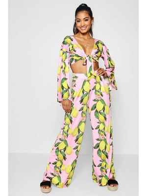 Boohoo Lemon Print Wide Leg Trouser