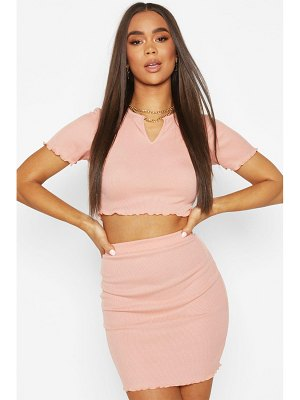 Boohoo Lettuce Hem Rib Notch Neck Top & Skirt Co-Ord Set