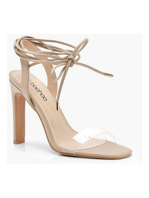 Boohoo Clear Band Wrap Strap Slim Block Heels