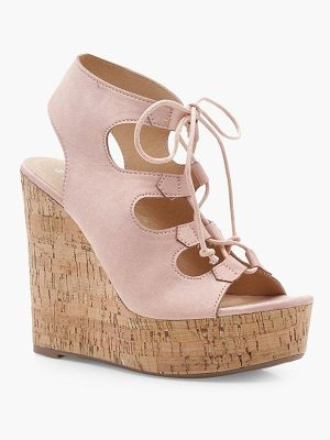 BOOHOO Lexi Extreme Cork Lace Up Wedges