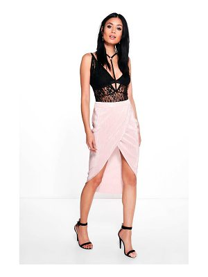BOOHOO Liberty Pleat Wrap Front Midi Skirt