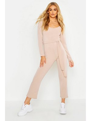 Boohoo Light Weight Loop Back Belted Jumpsuit