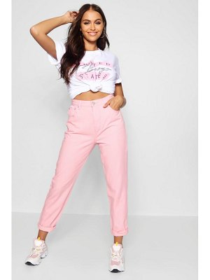 Boohoo Lila Pink Patchwork Mom Jean