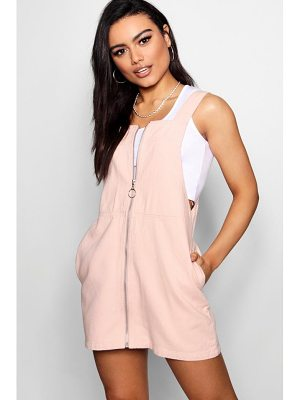 Boohoo Zip Pocket Denim Pinafore Dress