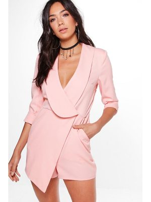 BOOHOO Lily Oversized Lapel Woven Tailored Playsuit