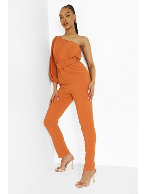 Boohoo Linen Belted One Sleeve Jumpsuit