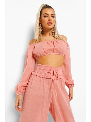Boohoo Linen Look Beach Crop Top