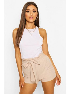 Boohoo Linen Look Paperbag Shorts