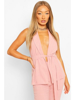Boohoo Linen Look Sleeveless Belted Duster