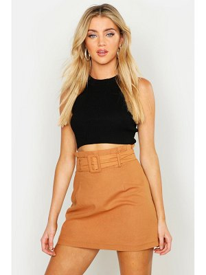 Boohoo Linen Mix Paper Bag Belted Mini Skirt