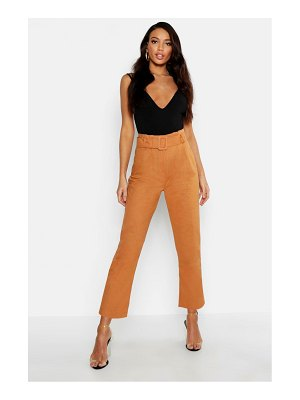 Boohoo Linen Mix Paperbag Belted Pants