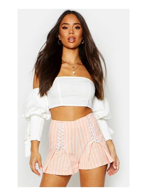 Boohoo Linen Stripe Lace Up Tailored Shorts