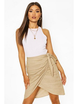 Boohoo Linen Tie Side Midi Skirt