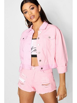 Boohoo Lizzie Pink Patchwork Cropped Denim Jacket