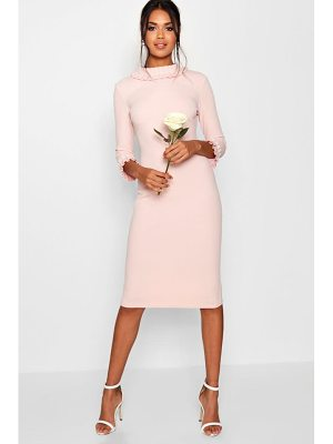 Boohoo Lizzie Pleat Detail Midi Dress