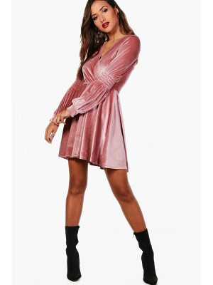 Boohoo Lo Ruched Sleeve Wrap Velvet Skater Dress