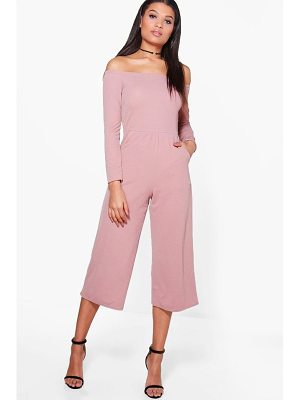 Boohoo Bardot Long Sleeve Wide Leg Culotte Jumpsuit