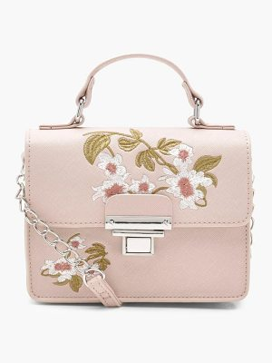BOOHOO Lola Embroidery & Lock Cross Body