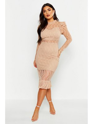 Boohoo Long Sleeve All Over Lace Midi Dress