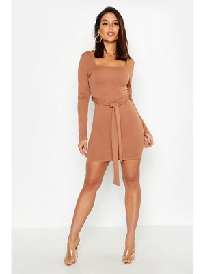 Boohoo Long Sleeve Belted Bodycon Dress