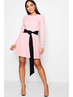Boohoo Long Sleeve Contrast Belt Skater Dress