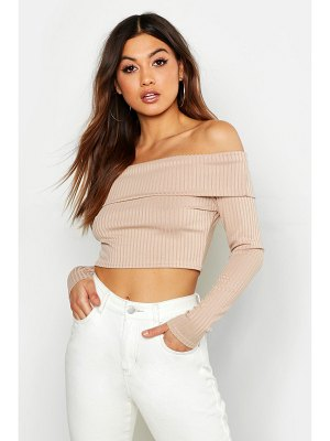 Boohoo Long Sleeve Jumbo Rib Bardot Crop Top