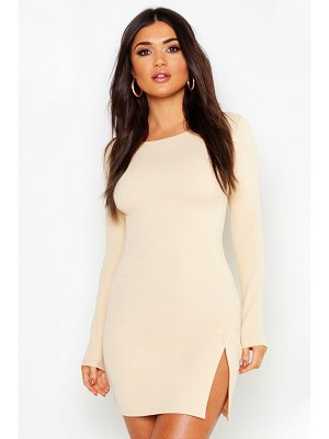 Boohoo Long Sleeve Knot Side Detail Bodycon Dress
