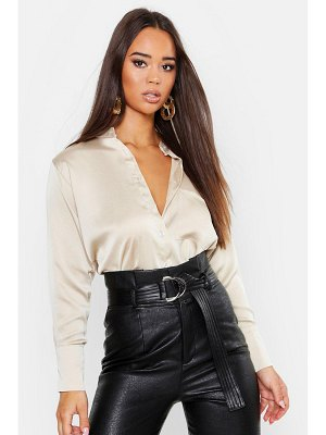 Boohoo Long Sleeve Satin Shirt