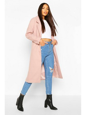 Boohoo Longline Drop Shoulder Wool Look Coat