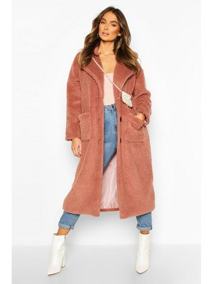 Boohoo Longline Teddy Faux Fur Coat