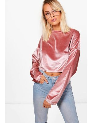 Boohoo Crop Velvet Oversized Sweat