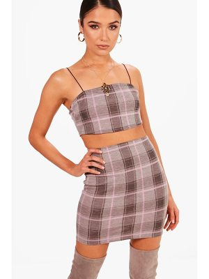 BOOHOO Lottie Check Spaghetti Strap Midi Co-Ord