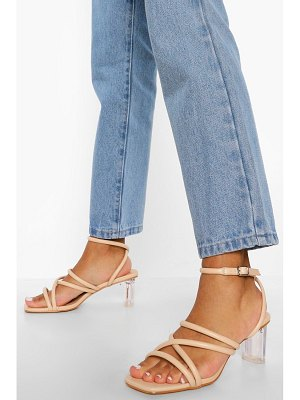 Boohoo Low Strappy Clear Heel Sandal