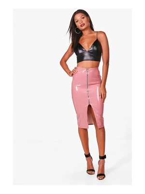 Boohoo Vinyl Zip Through Midi Skirt