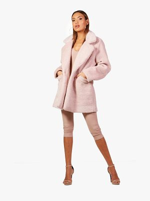 BOOHOO Lucy Collar Faux Fur Coat