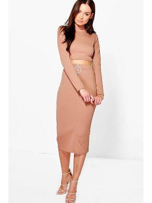 BOOHOO Lucy Ring Zip Midi & Crop Co-Ord