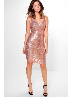 BOOHOO Lucy Sequin Stretch Bodycon Dress