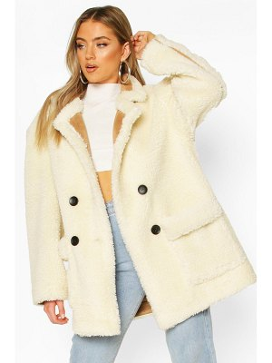 Boohoo Luxe Lined Teddy Faux Fur Oversized Coat