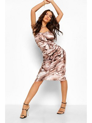 Boohoo Marble Print Satin Ruched Frill Midi Dress