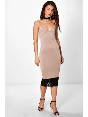 Boohoo Maura Strappy Lace Hem Detail Midi Dress