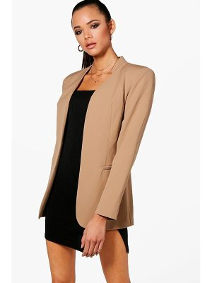 BOOHOO Megan Collarless Fitted Blazer