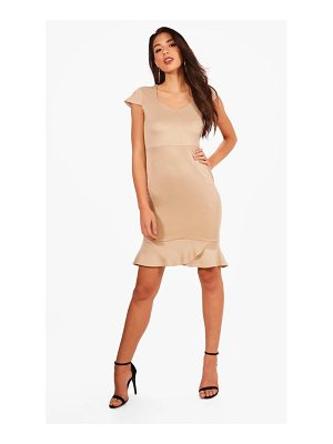 Boohoo Megan Frill Hem Midi Dress
