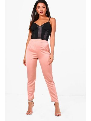 Boohoo Ripple Satin Slim Fit Tailored Trousers