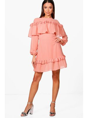 Boohoo Megan Ruffle Shoulder and Hem Tea Dress
