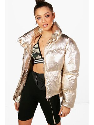 BOOHOO Melissa Metallic Quilted Jacket