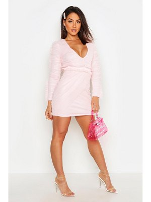 Boohoo Mesh Frill Plunge Mini Bodycon Dress
