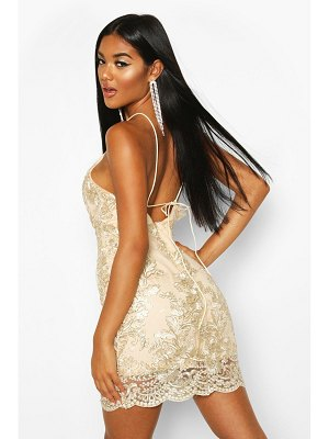 Boohoo Mesh Lace Detail Strappy Back Mini Dress