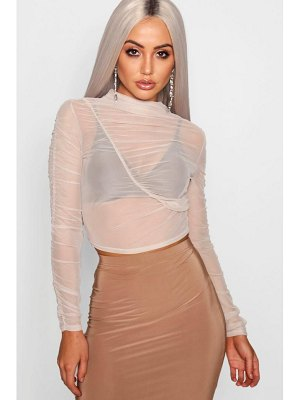 Boohoo Mesh Ruched Long Sleeve Crop Top