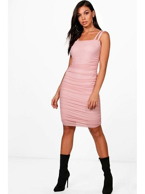 Boohoo Mesh Sqaure Neck Ruched Midi Dress